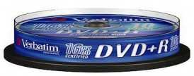 Диск DVD+R Verbatim 4.7Gb 16x Cake Box 43498