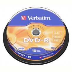 Диск DVD-R Verbatim 4.7Gb 16x Cake Box 43523