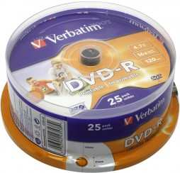 Диск DVD-R Verbatim 4.7Gb 16x Cake Box
