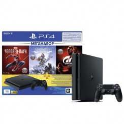 Консоль игровая Sony PlayStation PS4 1TB + Horizon Zero Dawn + Spider-Man + GTS (CUH-2208B)