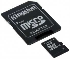 Карта памяти Kingston microSDHC 8Gb + SD адаптер